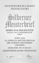 Handwerkskammer Düsseldorf - Silberner Meisterbrief